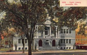 Public Library, Janesville, Wisconsin, Early Postcard, Unused