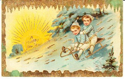 Two Boys on Sled - Gold Trim  Unused