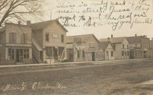RP: CLINTON , Wisconsin, 1915 ; Main Street (dirt)