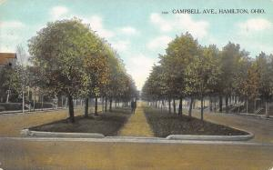 Hamilton Ohio~Campbell Avenue~Man on Median~Homes Each Side~1909 Postcard