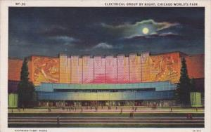 Chicago World's Fair 1933 Electrical Group By Night Curteich