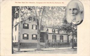 Portland Maine~Inset Portrait~General Neal Dow Mansion~B&W c1914