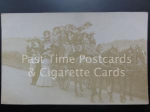 c1911 RP Large Group of Women on a 22 Seat Three-Horse Coach / Cart (Omnibus?)