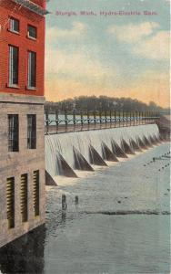 Sturgis Michigan~Hydro-Electric River Dam~1916 Postcard