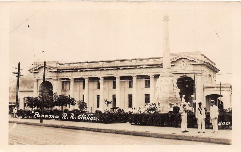 E48/ Foreign RPPC Postcard Central America c1920s Panama City Railroad Depot 4