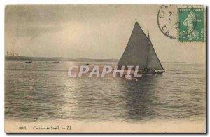 Old postcard Sunset Boat