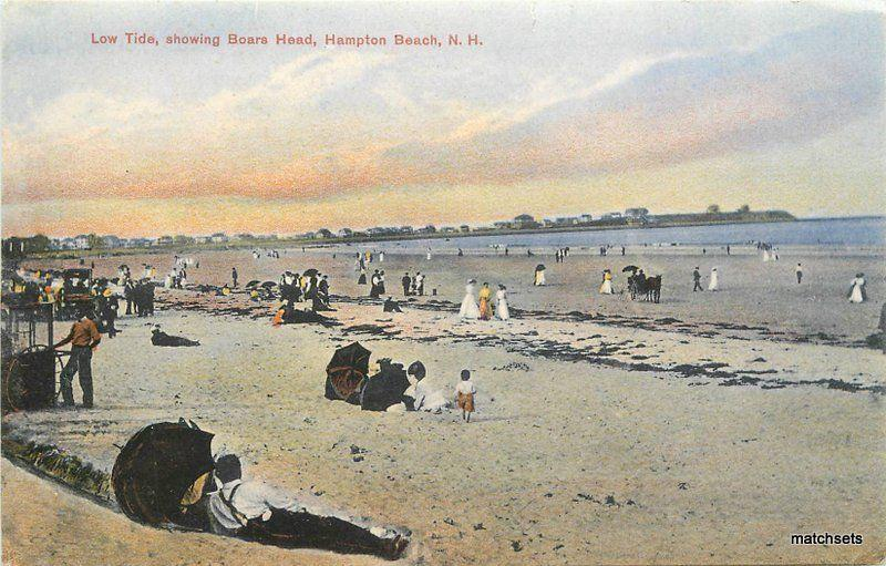Hampton Beach New Hampshire Low Tide Boars Head Shipley Postcard 10172