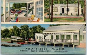 Hot Springs, Arkansas Postcard LAKELAND LODGE Boat Landing Porch Linen 1940s