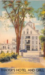 LITTLETON NEW HAMPSHIRE THAYERS HOTEL & GRILL~MWM BURSHEEN FINISH POSTCARD 1940s