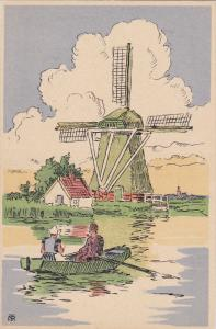 VOLENDAM, Noord-Holland, Netherlands, 1900-1910's; Couple In A Boat, Windmill