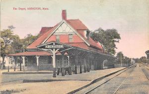 Abington MA Railroad Station Train Depot Postcard