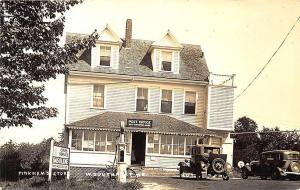 West Southport ME Post Office Cities Service Gas Station Old Cars RPPC Postcard