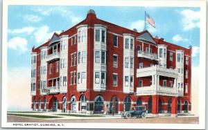 Dunkirk, New York Postcard HOTEL GRATIOT Street View Curteich c1930s Unused
