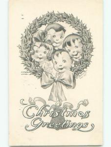 Pre-Linen FOUR KIDS INSIDE CHRISTMAS WREATH k1253