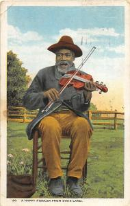 F34/ Black Americana Postcard c1920s Happy Fiddler Violin Man 14