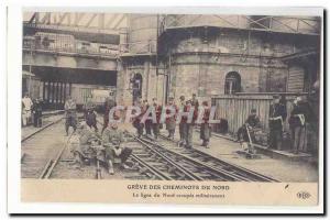 Old Postcard Greve Northern railway Northern Line occupied militarily TOP
