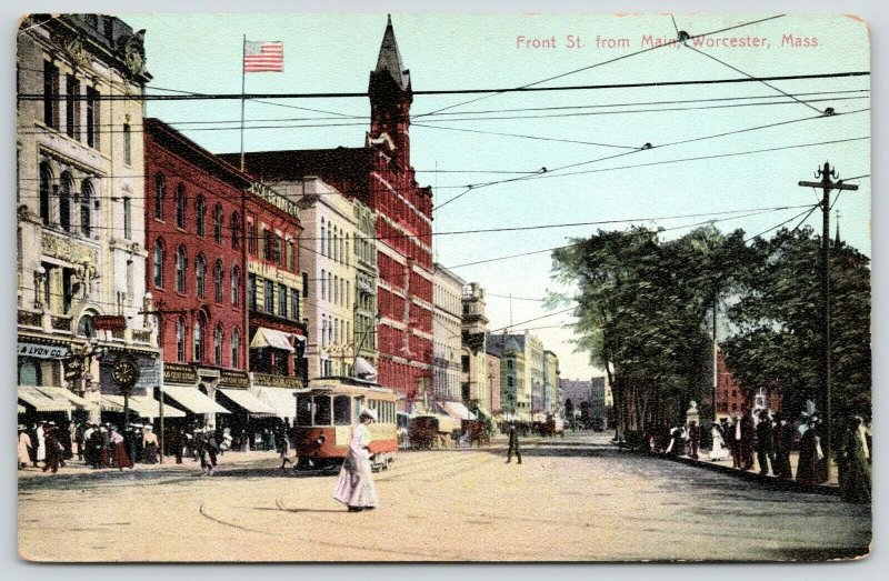 Worcester MA~Front Street Clock~Lyon Co~Woman Crosses in Front of Trolley~c1908