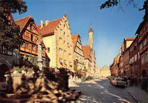 Rothenburg ob der Tauber Herrengasse Street Vintage Cars Postcard