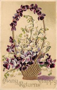 Embossed Purple & White Flower Greeting Many Happy Returns~pm @ Montpelier? VT