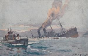 German U-Boat (Submarine) & sinking ship , 00-10s ; Artist Willy Stower