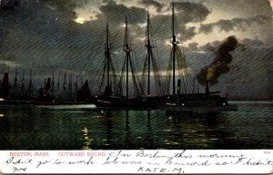 Massachusetts Boston Ships Outward Bound 1906