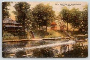 Eaton Indiana~Riverside Park~Excursion Boat Leaves Wake~River~Slide~Gazebo~1910