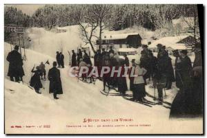 Old Postcard of Sports & # 39hiver Ski Vosges ski contest A skier coming at f...