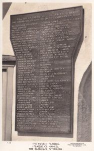 Pilgrim Fathers Plaque Of Names Barbican Plymouth Real Photo Old Postcard