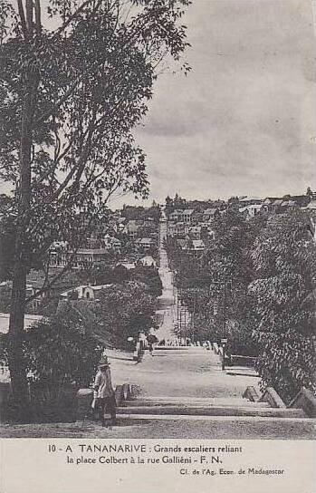 Madagascar A Tananarive Grands Escaliers Reliant La Place Colbert a La Rue Ga...