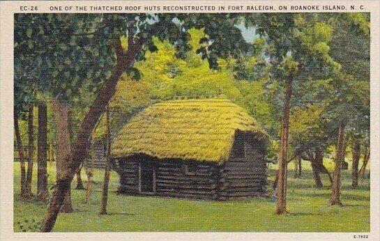 One Of The Thatched Roof Huts Reconstructed In Fort Raleigh on Roanoke Island...