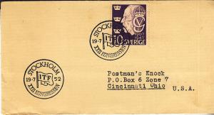 Sweden - XXII Congress ITF - Stockholm 1952 Cover w/Cancel