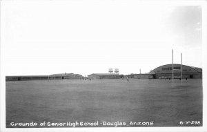Douglas Arizona Grounds Senior High School 1950s RPPC Photo Postcard 6876