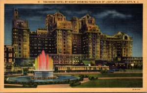 New Jersey Atlantic City Traymore Hotel By Night Showing Fountain Of Light Cu...