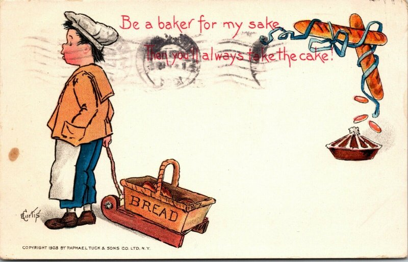 E Curtis~Baker Boy With Bread in Sled~Will Always take the Cake~1903 TUCK