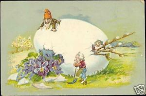 Gnomes, Large Egg, Purple Pansy, Easter (1910)