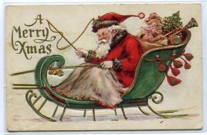 Santa Sleigh Merry Xmas Christmas Holiday Greetings 1926 postcard
