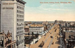 main street looking north winnipeg manitoba canada L4523 antique postcard