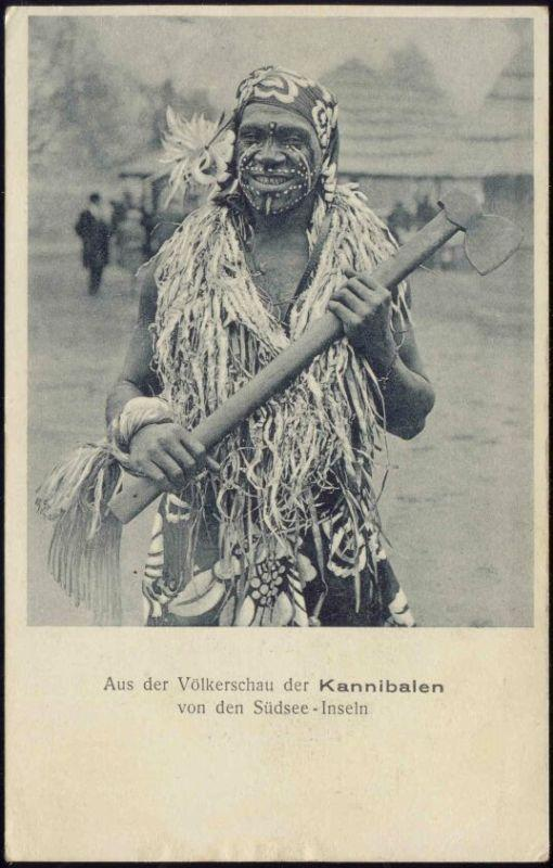 Native South Sea CANNIBAL with Axe, Facial Tattoo 1910s