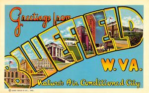 Post Card Old Vintage Antique Greeetings from Bluefield, West Virginia, USA U...