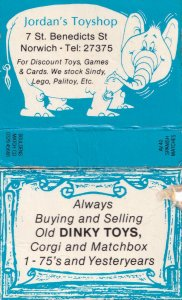Jordons Norfolk Norwich Toyshop Dinky Corgi Matchbox Label