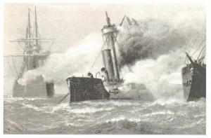 Postcard Art Peruvian War Ship Huascar Chilean Ironclads 1879 James G Tyler L52