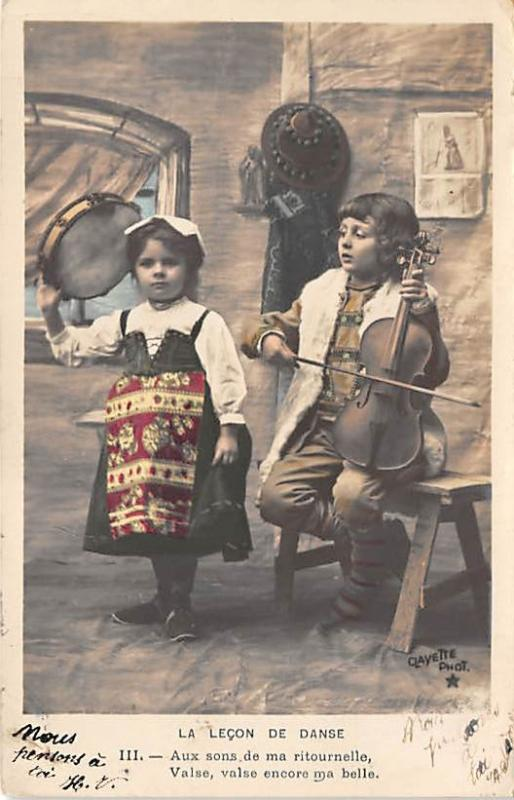 People and Children Photographed on Postcard, Old Vintage Antique Post Card L...