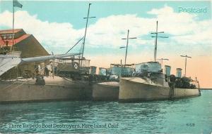 CA, Mare Island, California, Military, Three Torpedo Boats, Pacific Novelty 4159