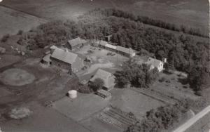Triumph Minnesota~Aerial Photo Co~View of Large Local Farm~Barns~Silo~1940s RPPC