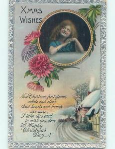 Divided-Back christmas GIRL WITH FLOWERS AND XMAS WISHES o4131