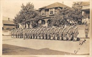 Our Boys WWI Troop Lined Up in Street~Field Pack Roll~X Marks One~1917 RPPC