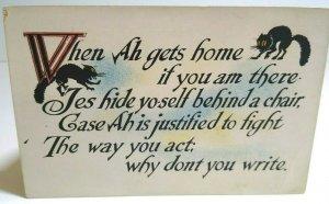 Vintage Halloween Postcard Black Cats Unused S&W Series 127 When Ah Gets Home