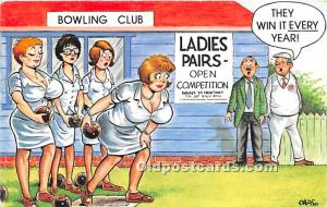 Old Vintage Lawn Bowling Postcard Post Card Bowling Club Unused