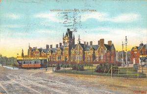 Victoria Barricks Southsea  Portsmouth UK., 1912 postcard ad on Trolley