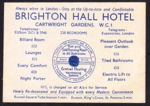 Brighton Hall Hotel Cartwright Gardens advertising card